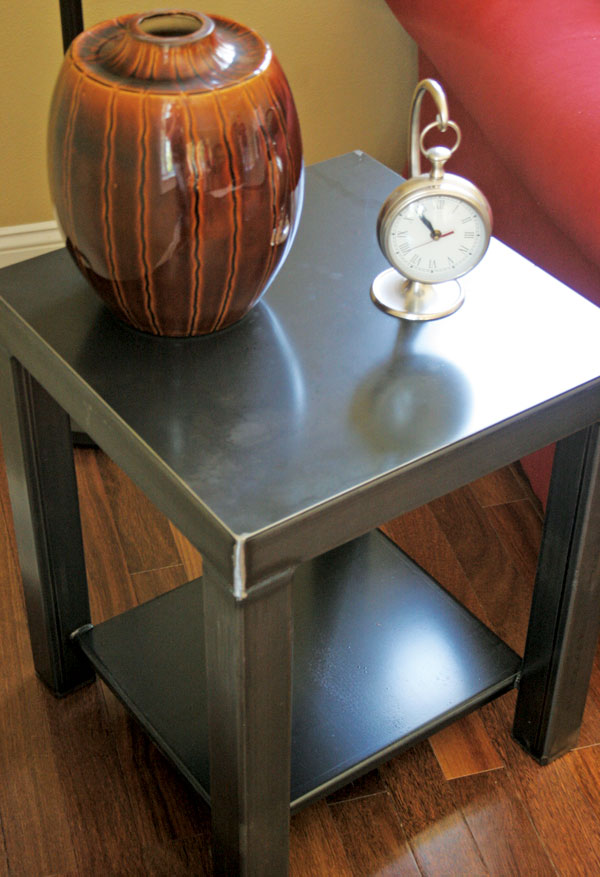 Black Steel End Table