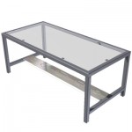 Steel Coffee Table with Oval Inlay